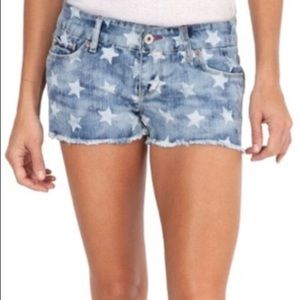 Levi's Shorty Shorts Denim Stars fringed hem SZ 15